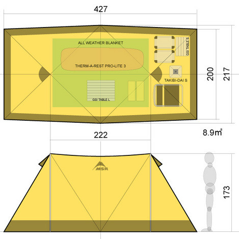 Msr Twin Brothers Pyramid Tent Shelter Tarp Wing Moss